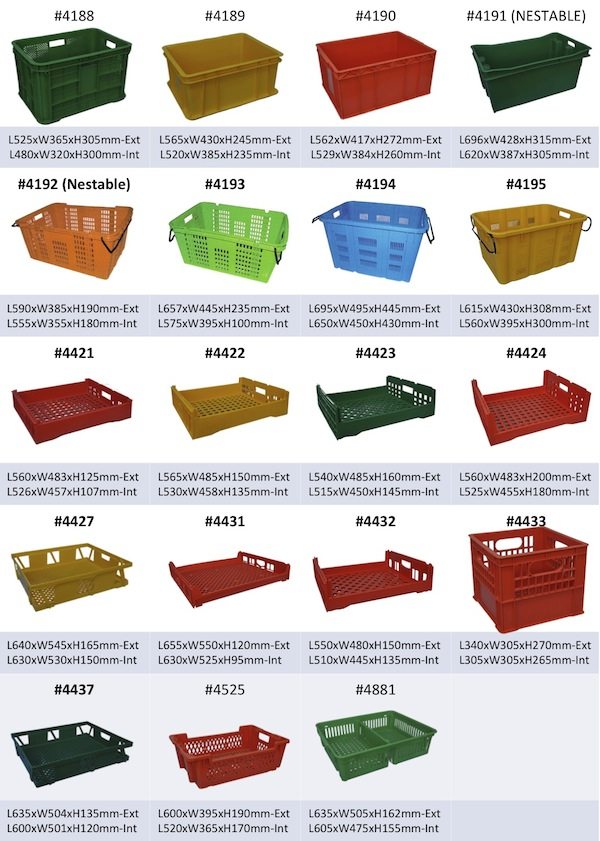 Reuseable Plastic Crates Containers Baskets Utoc